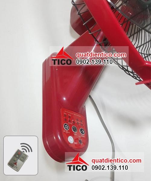 Nút bấm trên thân quạt treo điều khiển màu đỏ